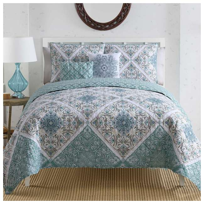 WIN-4QT-XTWN-IN-AQ VCNY Home Windsor Floral Medallion 4 Piece Reversible Bed Quilt Set, Twin XL 1
