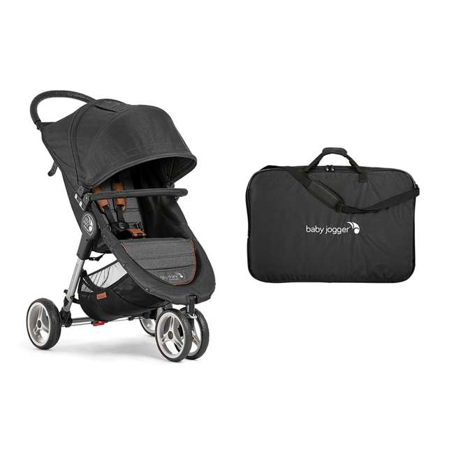 2050322 + 1968004 Baby Jogger City Mini 3 Wheel Single Stroller + Padded Travel Carry Bag