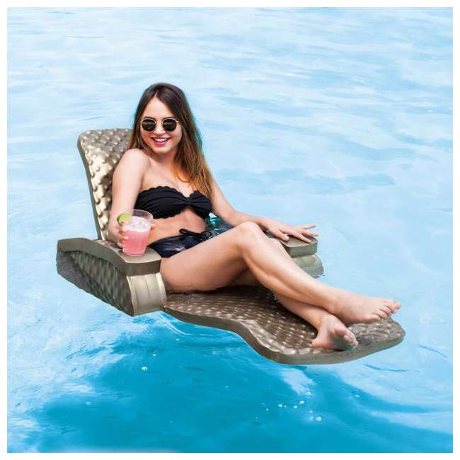 6570118-U-B TRC Recreation Super Soft Baja II Pool Foam Lounge Swim Float, Bronze (Used) 1