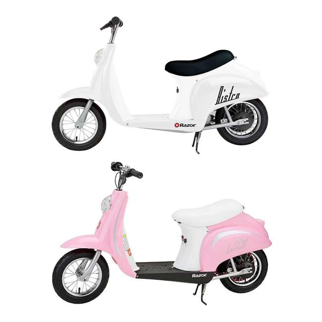15130608 + 15130610 Razor Pocket Mod Miniature Euro 24V Electric Retro Scooter 2-Pack, Pink & White