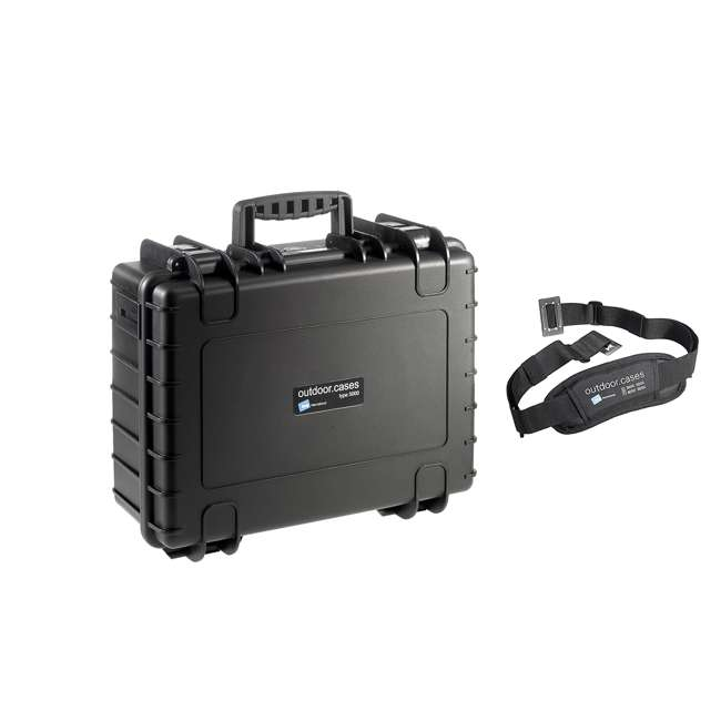 5000/B/RPD + CS/3000 B&W International Plastic Outdoor Case with RPD Insert and Shoulder Carry Strap 4