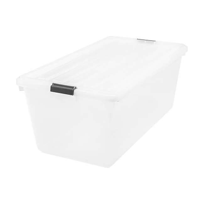 100201 IRIS Large 91 Qt Buckle Down Storage Caddy Bin Tote Container with Lid (2 Pack) 1