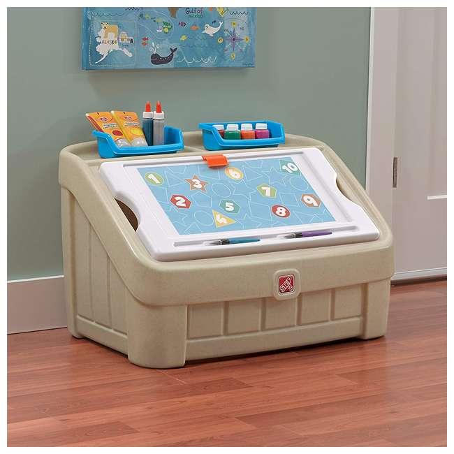 845500 Step2 2-In-1 Kids Organizer Play Toy Box Chest and Art Lid Storage Bin, Tan 4