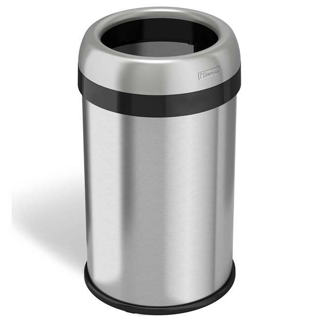 OL13STR iTouchless 13 Gallon Deodorizer Trash Can with Open Top, Stainless Steel