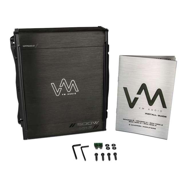 VM-SRA500.2 + VM-SRPK8R + VM-SRCAP4.5 VM Audio SRA500.2 500W 2 Channel Amplifier with 8 Gauge Wiring Kit and 4.5 Farad Capacitor 2