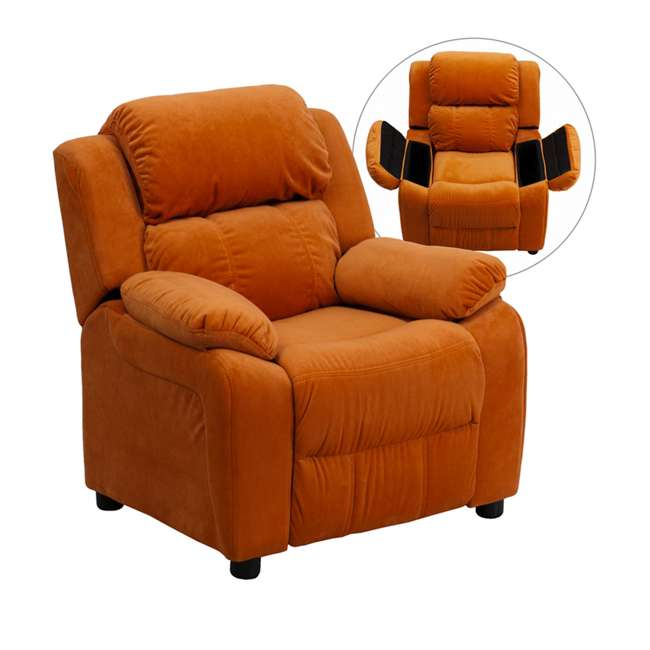BT-7985-KID-MIC-ORG-GG Flash Furniture Deluxe Padded Orange Microfiber Kids Recliner with Storage Arms 1