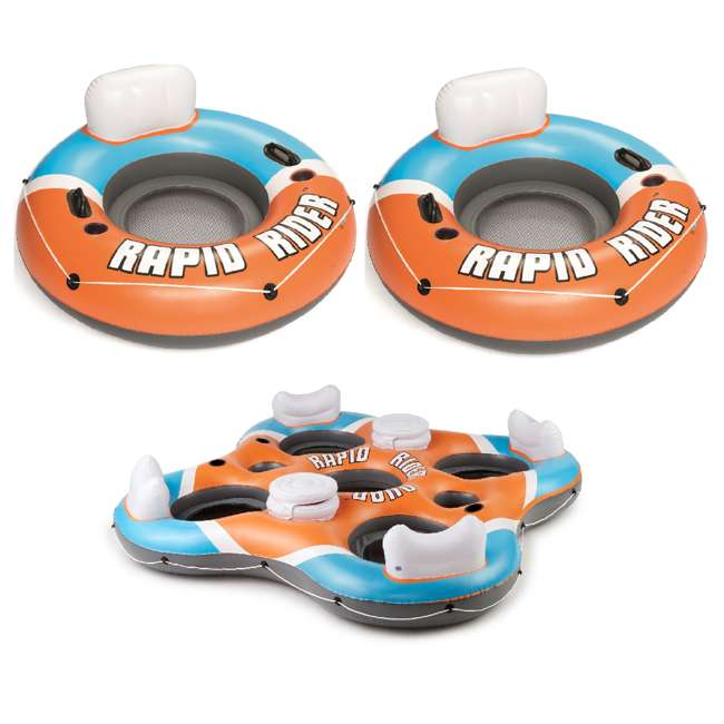 "43116E-BW-NEW + 43115E-BW Bestway Inflatable River Lake Pool Tube (2 Pack) 101"" Rapid Rider 4 Person Raft"