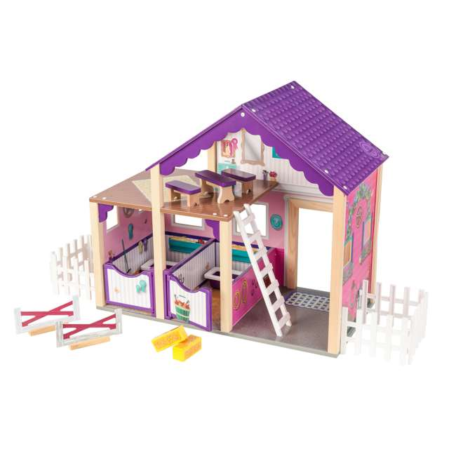 63602 KidKraft Kids Deluxe Toy Horse Stable Wooden Barn Doll House Play Set with Fence