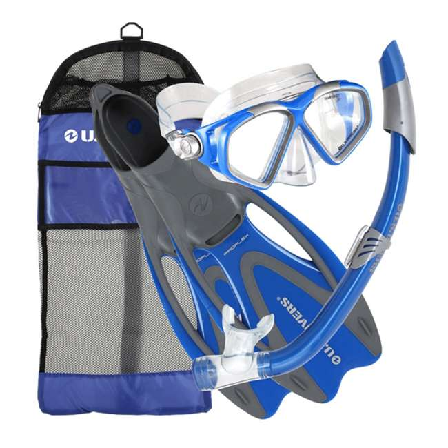 SR259O4015S U.S. Divers Cozumel Comfortable Snorkeling Set with Fins, Mask, Snorkel, and Bag