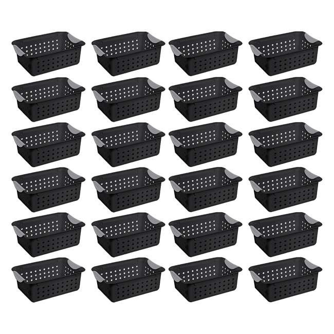 24 x 16229012 Sterilite Ultra Small Home Organization Storage Basket w/ Holes, Black (24 Pack)