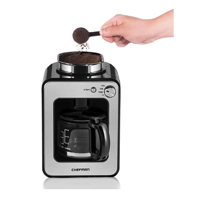 RJ14-4-GB Chefman Grind and Brew 4-Cup Compact Coffee Maker and Grinder, Stainless Steel 2