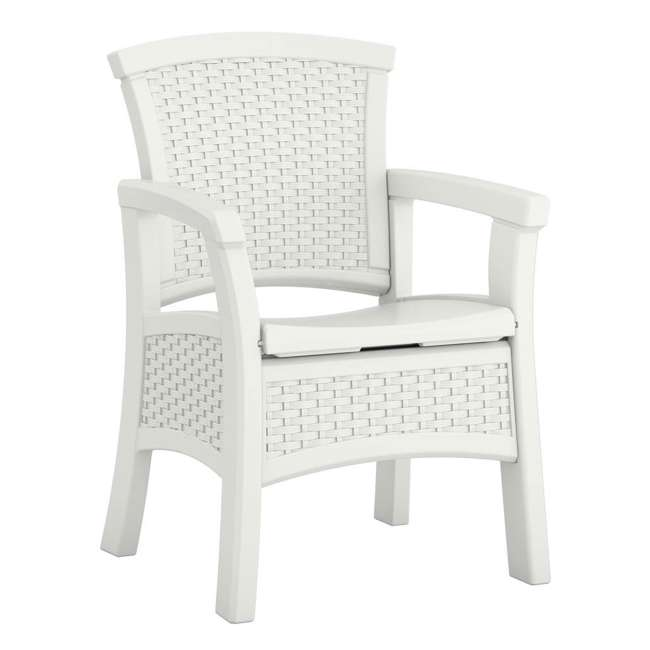 BMDC1400WD Suncast Elements Durable Outdoor Patio Dining Chair with Storage, White (2 Pack) 1