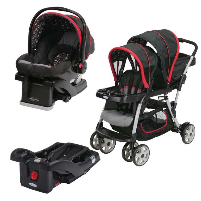 Graco Ready2grow Double Stroller With Snugride Car Seat