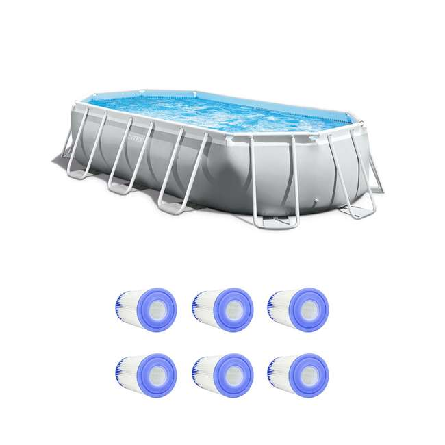 26795EH + 6 x 29000E Intex 16.5 Foot Rectangular Pool Set w/ Filter (6 Pack)