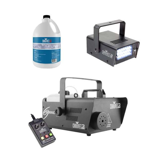 H1600 + FJU + MINISTROBE-LED Chauvet DJ Hurricane 1600 Fog Machine w/ Fog Juice (1 Gallon), Strobe Light