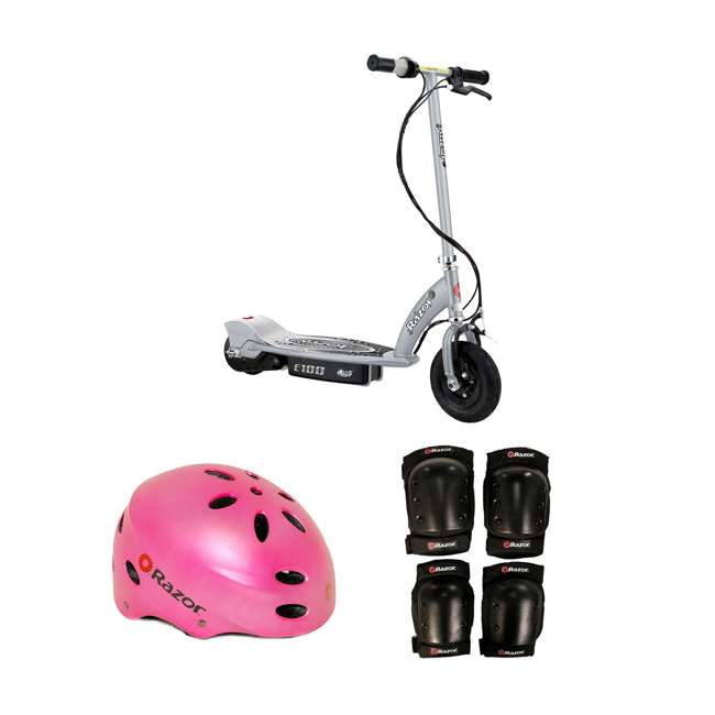 13181112 + 97783 + 96785 Razor Electric Kids Scooter, Silver & Youth Sport Helmet & Elbow & Knee Pads