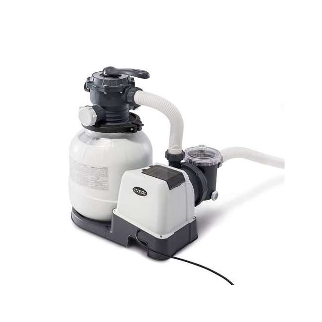 I26645 Intex 2100 GPH Above Ground Pool Sand Filter Pump w/ Automatic Timer (Brown Box)