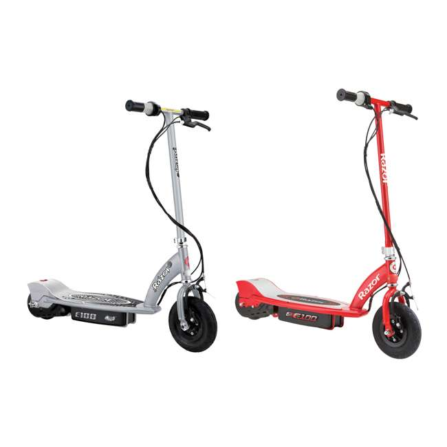 13181112 + 13111260 Razor E100 24 Volt Electric Powered Ride On Scooter, Silver and Red (2 Scooters)