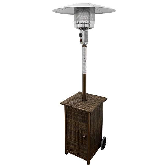 HLDS01-WHSQ Hiland HLDS01-WHSQ Quartz Glass Tube 48,000 BTU Wicker Patio Heater Table, Brown