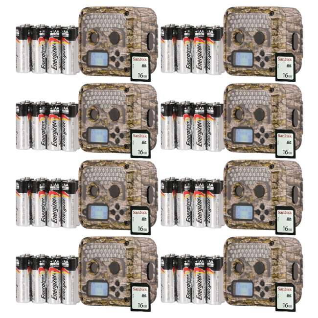 8 x WGICM0653 Wildgame Innovations Shadow Infrared Game Trail Camera (8 Pack) with SD Cards