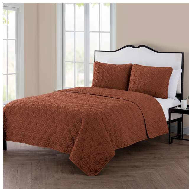 KLI-3QT-FUQU-IN-OB VCNY Home Kaleidoscope Geometric Orange 3 Piece Bed Quilt & Sham Set, Full/Queen 3