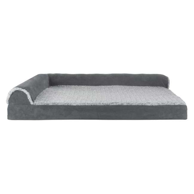 64541087BX Furhaven Deluxe Memory Foam L Shaped Chaise Sofa Pet Dog Bed, Stone Gray, Jumbo