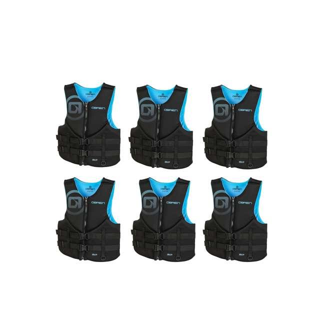 6 x 2181996-MW OBrien Men's Neoprene Life Vest Size XLarge, Cyan (6 Pack)