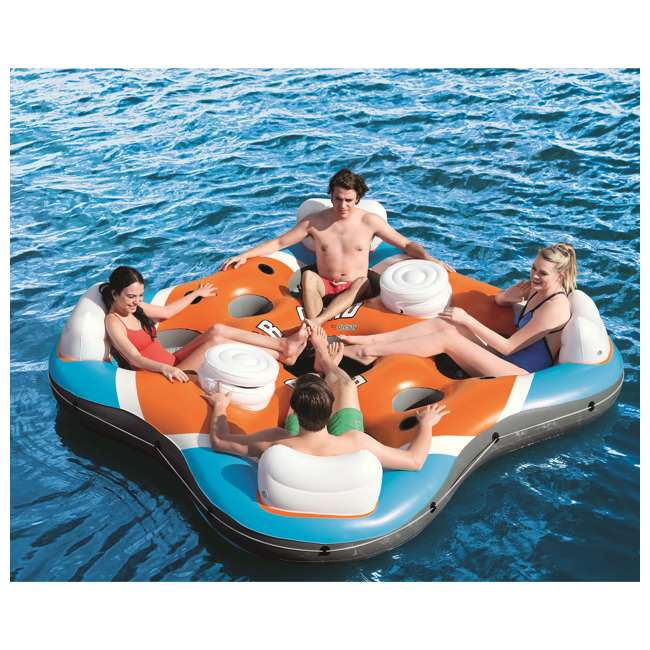 43115E-BW-U-A Bestway 101-Inch Rapid Rider 4-Person Floating Raft w/ Coolers(Open Box)(2 Pack) 8