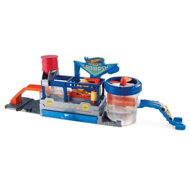 FTB66-U-B Mattel Hot Wheels Mega Car Wash Play Set w/ 1 Color Changing Car