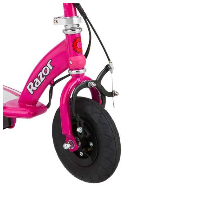 13111261 + 97880 + 96785 Razor E100 Pink 24V Electric Ride On Scooter w/ Red Helmet & Red Elbow/Knee Pads 4