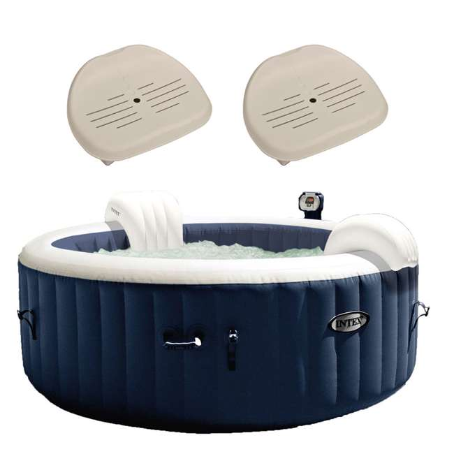 28405E + 2 x 28502E Intex Pure Spa Inflatable Hot Tub & Slip Resistant Seat (2 Pack)