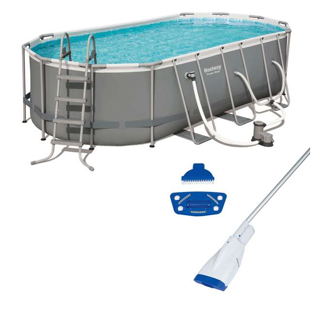 56711E-BW + 58422E-BW Bestway Power 18 x 9 x 4 Foot Above Ground Pool Set with Pump & Aqua Vacuum