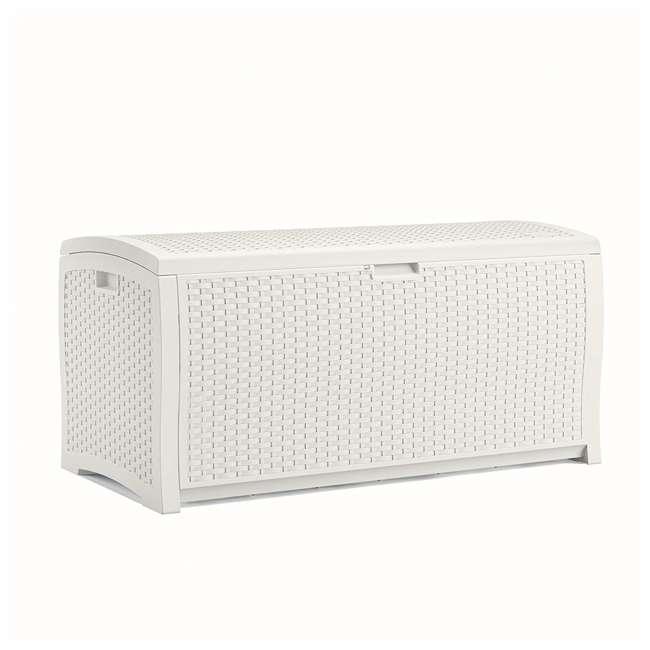 DB9200WD Suncast 99 Gallon Resin Wicker Horizontal Outdoor Deck Box, White  (2 Pack)