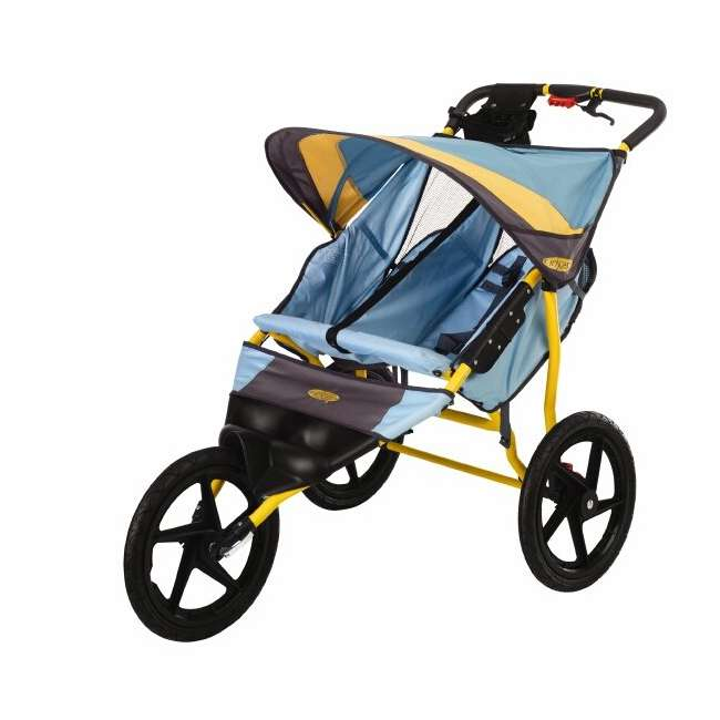 11-KS228 InStep Run Around 2 Double Jogging Stroller (Teal/Sunflower)