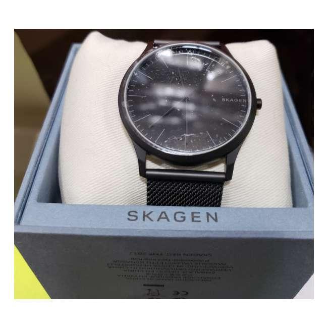 SKW6422-U-B Skagen Jorn 41mm 3 Hand Mens Wrist Watch with Black Mesh Band, Black Face (Used)