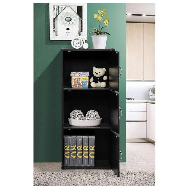 HID3 BLACK Hodedah 3 Door Enclosed Multipurpose Storage Cabinet for Home or Office, Black 3