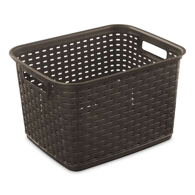 6 x 12736P06-U-A Sterilite Tall Wicker Weave Plastic Laundry Basket, Brown (Open Box) (6 Pack)