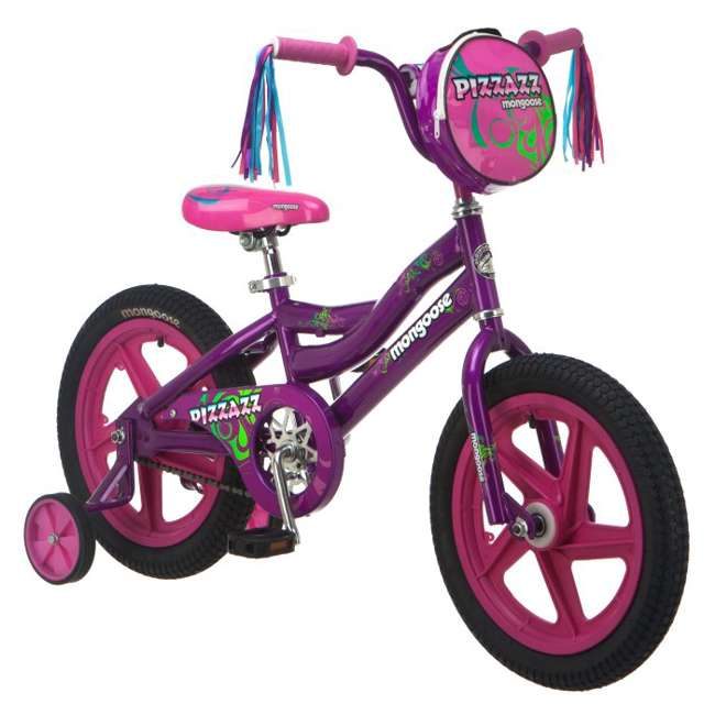 "R1677B Mongoose Pizazz 16"" Girl's Sidewalk Kids Bike - Purple 