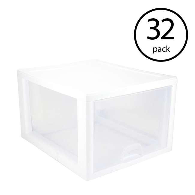 32 x 23108004 Sterilite 2310 27-Quart Single Stacking Drawer - Clear (32 Pack)