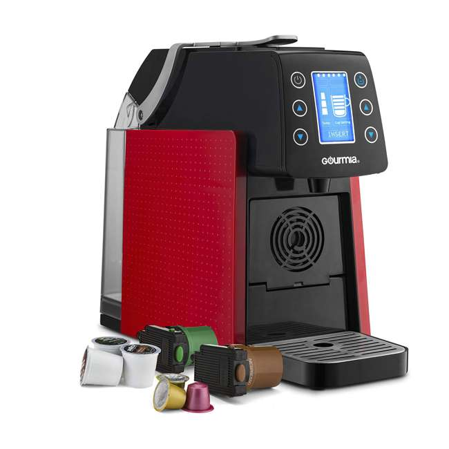 GCM5100R Gourmia 1 Touch Automated Single Serve Coffee and Espresso Maker Machine, Red  2