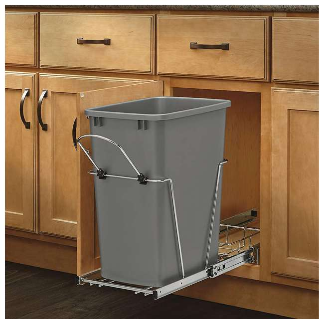 RV-35-17-52 Rev-A-Shelf RV-35-17-52 35 Quart Plastic Replacement Waste Container, Metal Gray 1