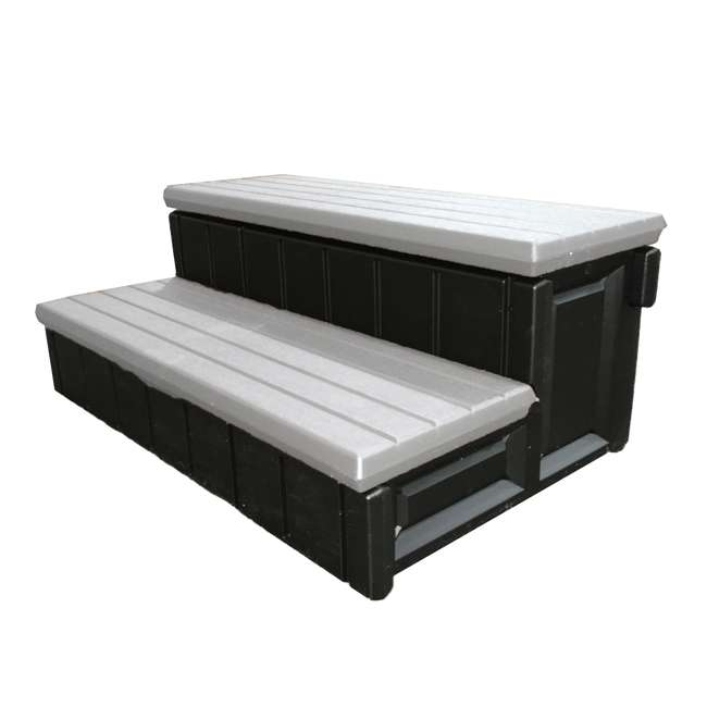 """LASS36-G-U-A Leisure Accents 36"""" Deluxe Deck Patio Spa Hot Tub Steps Gray (Open Box) (2 Pack) 1"""