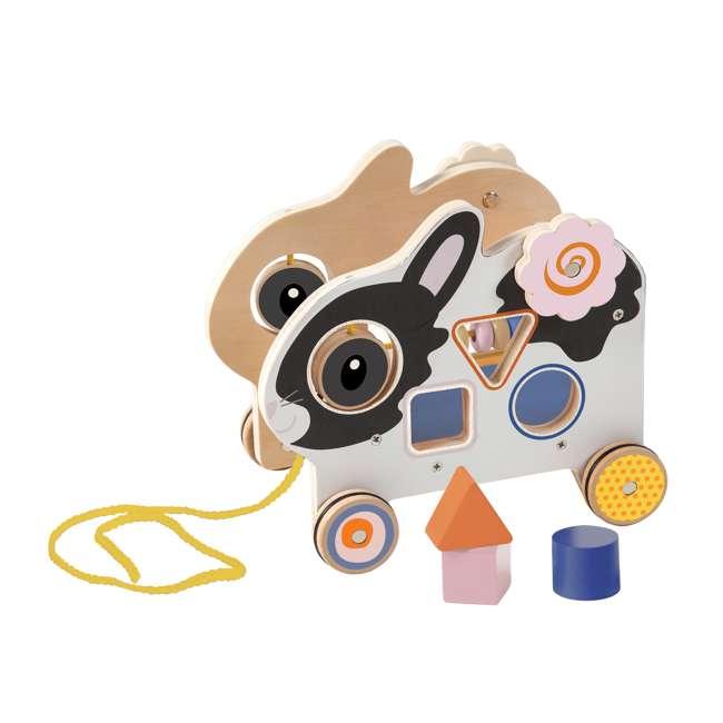 214240 Manhattan My Pal Clover Wooden Rabbit Pull Along Preschool Toddler Activity Toy