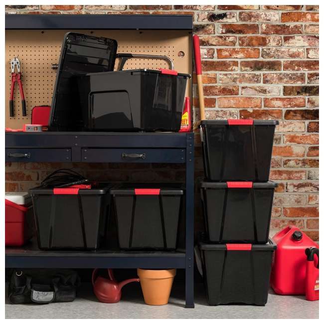 588339 IRIS 53 Qt Stack & Pull Storage Lidded Container Box Bin System, Black (6 Count) 3