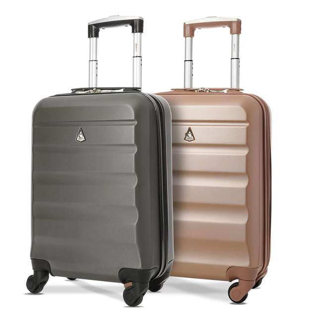 ABS322 CHARCOAL 22 + ABS322 ROSEGOLD 22 Aerolite Airline Approved Hardshell Carryon Suitcases Pack, Charcoal & Rose Gold