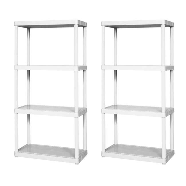 91064-1C-90 Gracious Living Easily Assembled Light Duty Solid Shelving Unit, White (2 Pack)