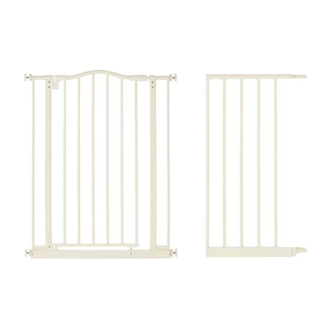 NS-4978 + NS-4974 North States Portico Arch Tall & Wide Safety Gate & 13.42 Inch Extension, Ivory
