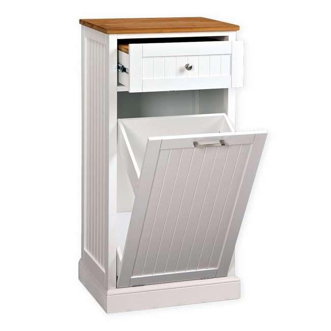CMC-800 SpaceMaster Microwave Kitchen Cart with Hideaway Trashcan Holder 1