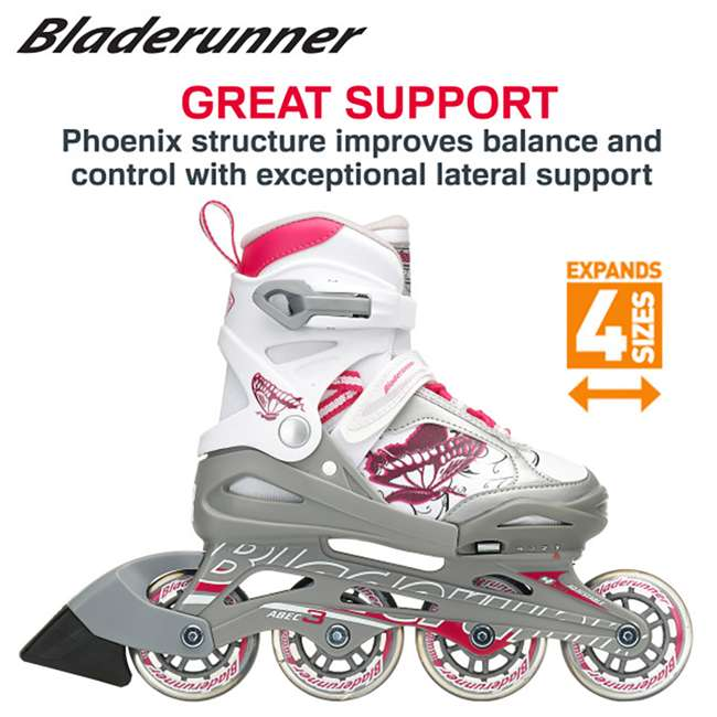 0T612200816-11J-1 Bladerunner Phoenix Boys Adjustable Kids Junior Inline Skates, Black and Silver 2