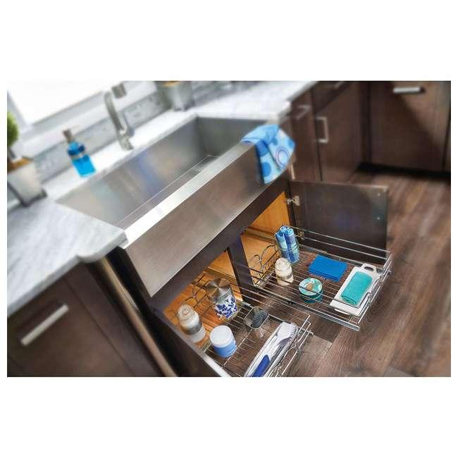 3 x 5WB1-0918-CR-U-A Rev A Shelf 9 x 18 Inch Cabinet Pull Out Basket, Chrome (Open Box) (3 Pack) 2